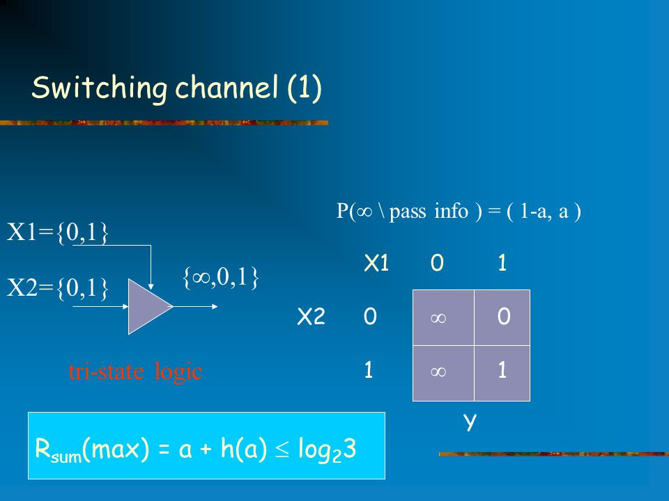 Switching channel (1) X101 X20  0 1  1 Y X2={0,1} X1={0,1} { ,0,1} tri-state logic P(  \ pass info ) = ( 1-a, a ) R sum (max) = a + h(a)  log 2 3