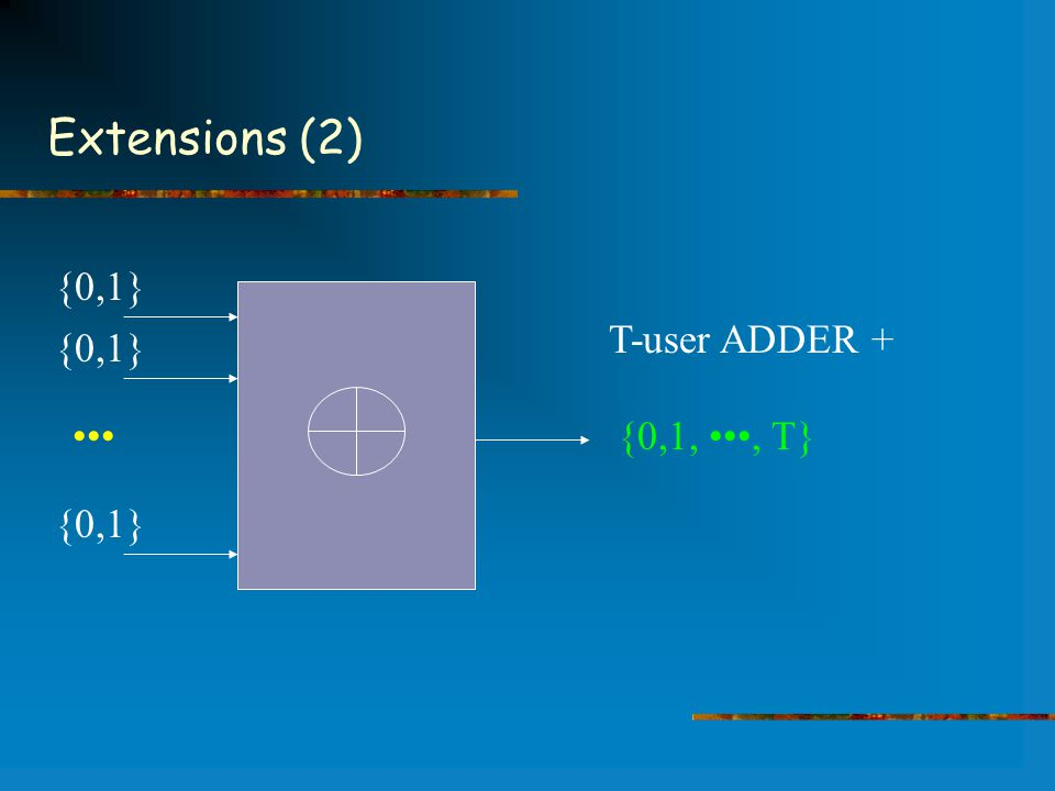 Extensions (2) T-user ADDER + {0,1} {0,1,, T}