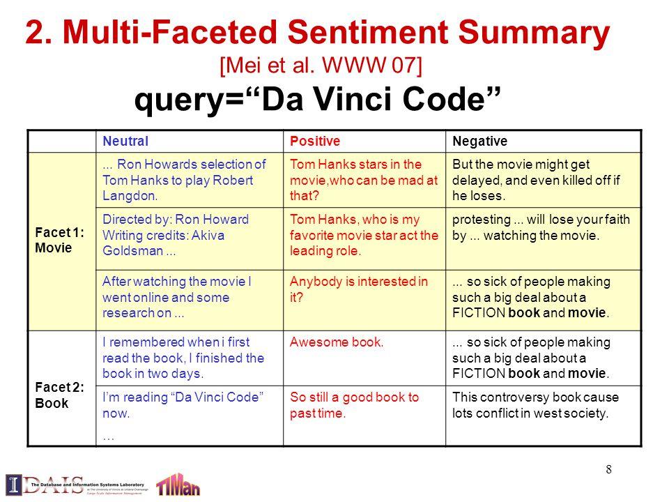 8 2. Multi-Faceted Sentiment Summary [Mei et al.