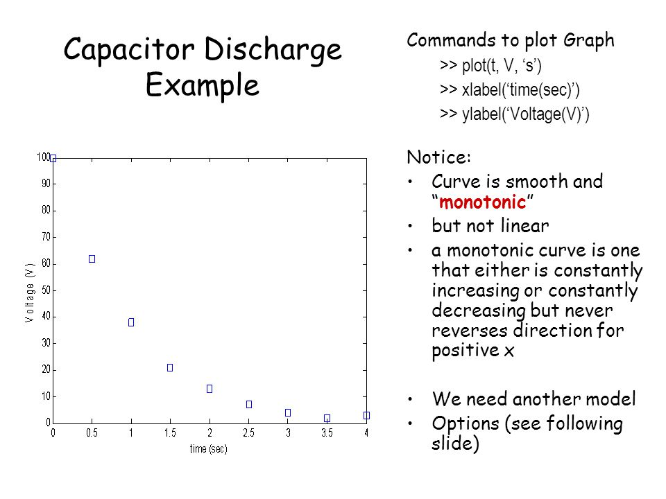 Capacitor Discharge Example Commands to plot Graph >> plot(t, V, 's') >> xlabel('time(sec)') >> ylabel('Voltage(V)') Notice: Curve is smooth and monotonic but not linear a monotonic curve is one that either is constantly increasing or constantly decreasing but never reverses direction for positive x We need another model Options (see following slide)