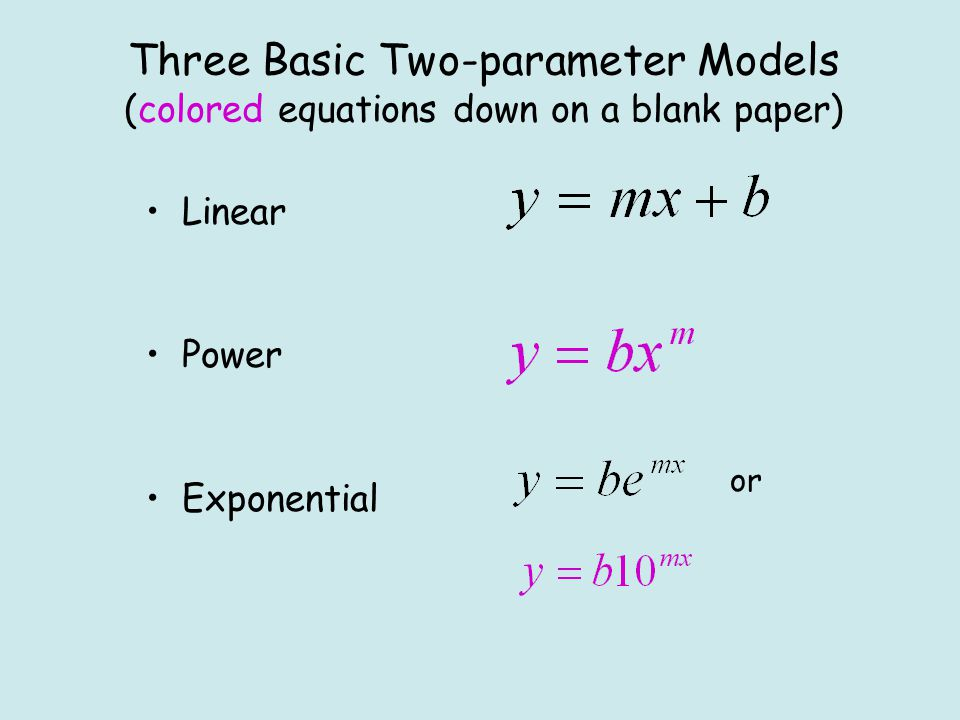 Three Basic Two-parameter Models (colored equations down on a blank paper) Linear Power Exponential or