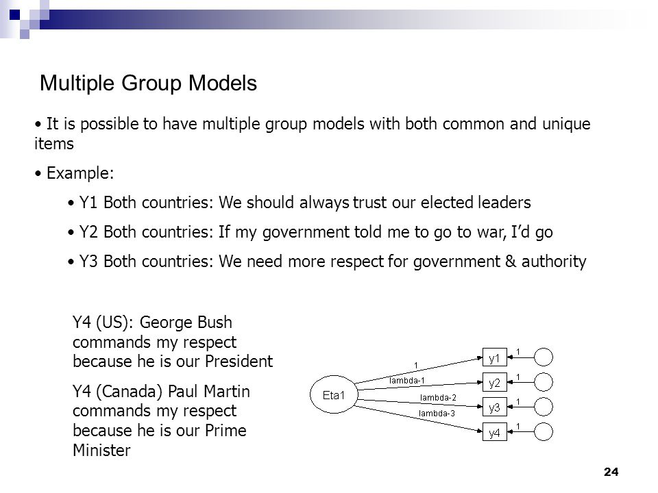 24 Multiple Group Models It is possible to have multiple group models with both common and unique items Example: Y1 Both countries: We should always trust our elected leaders Y2 Both countries: If my government told me to go to war, I'd go Y3 Both countries: We need more respect for government & authority Y4 (US): George Bush commands my respect because he is our President Y4 (Canada) Paul Martin commands my respect because he is our Prime Minister