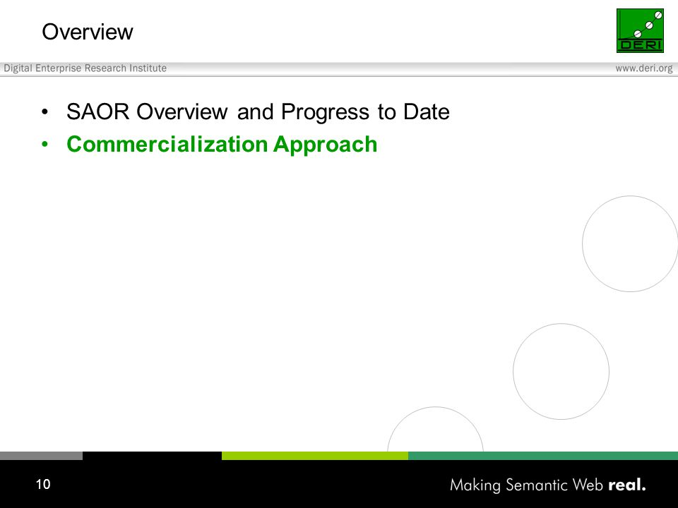 10 SAOR Overview and Progress to Date Commercialization Approach Overview