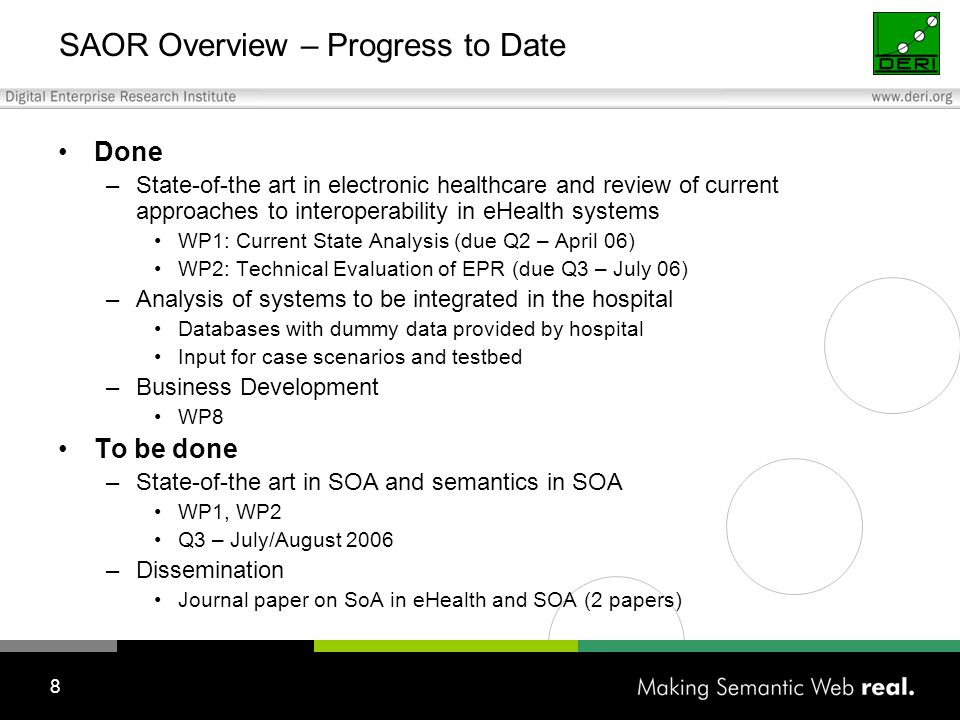 8 SAOR Overview – Progress to Date Done –State-of-the art in electronic healthcare and review of current approaches to interoperability in eHealth systems WP1: Current State Analysis (due Q2 – April 06) WP2: Technical Evaluation of EPR (due Q3 – July 06) –Analysis of systems to be integrated in the hospital Databases with dummy data provided by hospital Input for case scenarios and testbed –Business Development WP8 To be done –State-of-the art in SOA and semantics in SOA WP1, WP2 Q3 – July/August 2006 –Dissemination Journal paper on SoA in eHealth and SOA (2 papers)