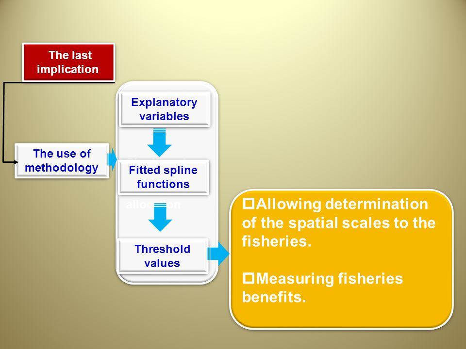 Significant impact for effort allocation The last implication The last implication The use of methodology Threshold values  Allowing determination of the spatial scales to the fisheries.