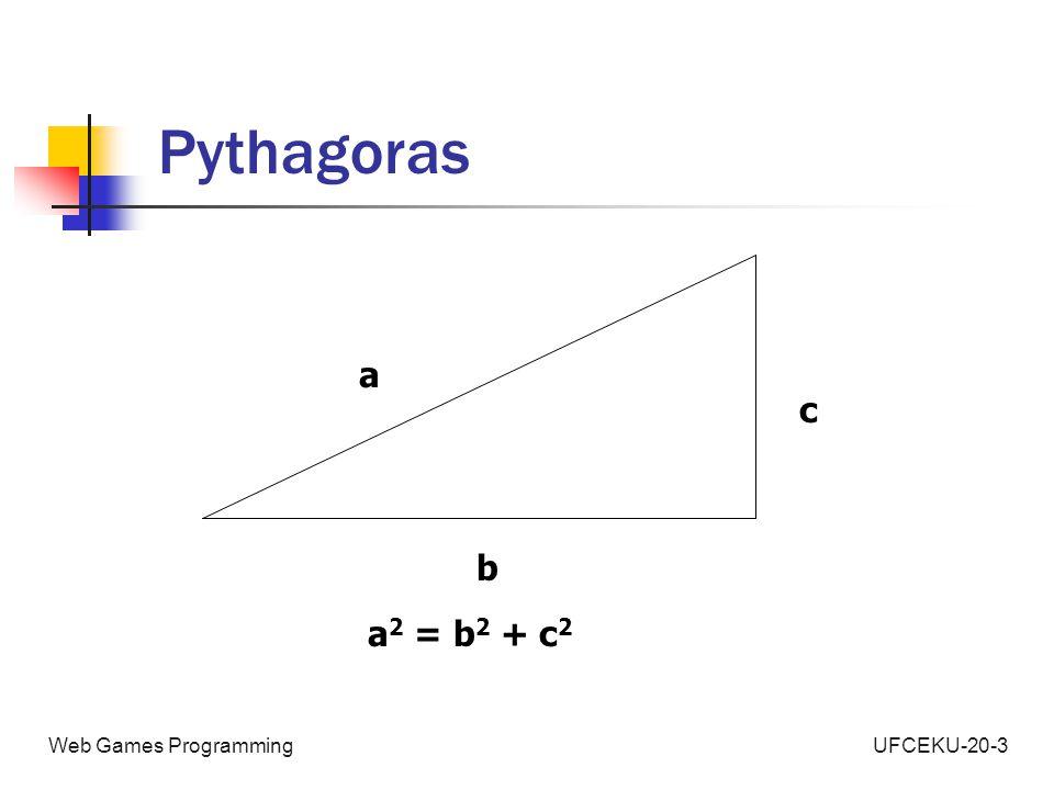 UFCEKU-20-3Web Games Programming Pythagoras a b c a 2 = b 2 + c 2