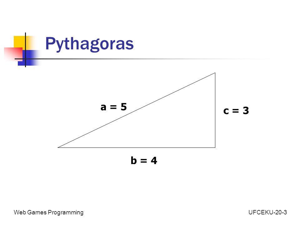 UFCEKU-20-3Web Games Programming Pythagoras a = 5 c = 3 b = 4
