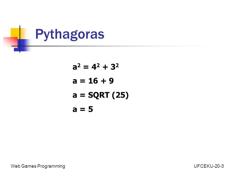 UFCEKU-20-3Web Games Programming Pythagoras a 2 = 4 2 + 3 2 a = 16 + 9 a = SQRT (25) a = 5