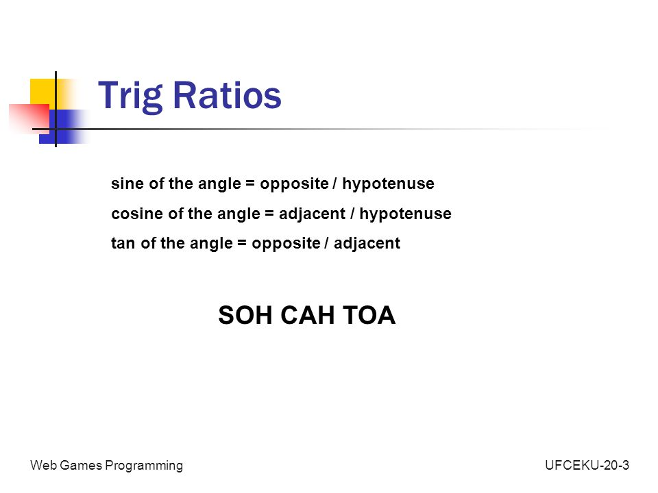 UFCEKU-20-3Web Games Programming Trig Ratios sine of the angle = opposite / hypotenuse cosine of the angle = adjacent / hypotenuse tan of the angle = opposite / adjacent SOH CAH TOA