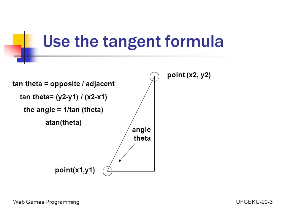 UFCEKU-20-3Web Games Programming Use the tangent formula point(x1,y1) point (x2, y2) angle theta tan theta = opposite / adjacent tan theta= (y2-y1) / (x2-x1) the angle = 1/tan (theta) atan(theta)
