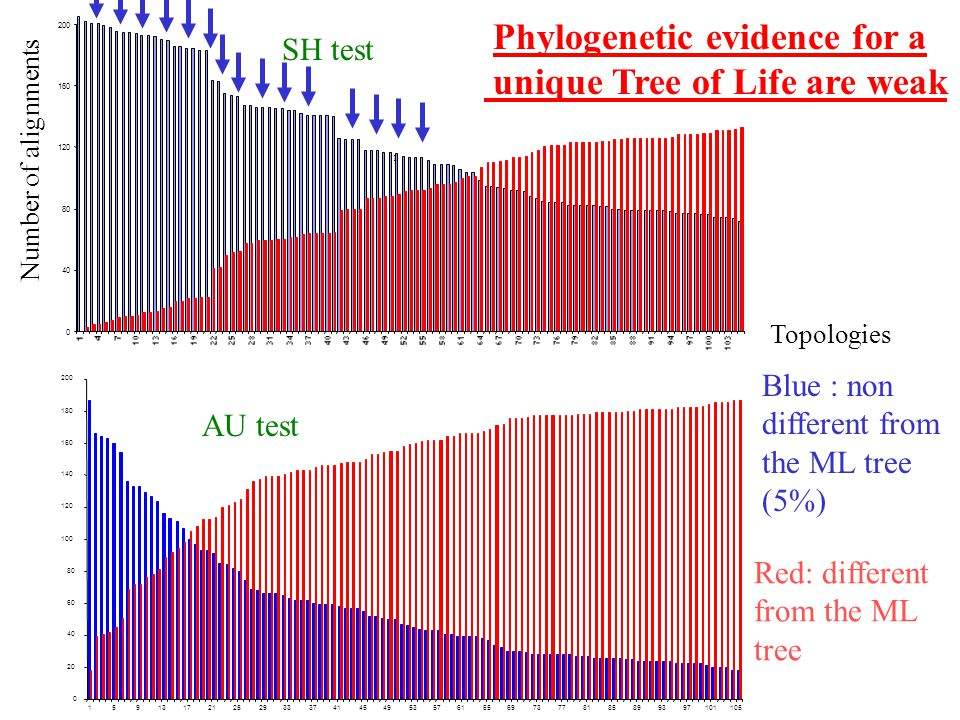 Phylogenetic evidence for a unique Tree of Life are weak