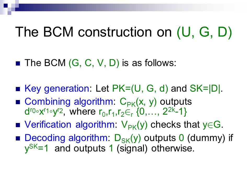 The BCM construction on (U, G, D) The BCM (G, C, V, D) is as follows: Key generation: Let PK=(U, G, d) and SK=|D|. Combining algorithm: C PK (x, y) ou