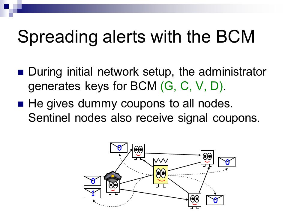Spreading alerts with the BCM During initial network setup, the administrator generates keys for BCM (G, C, V, D). He gives dummy coupons to all nodes