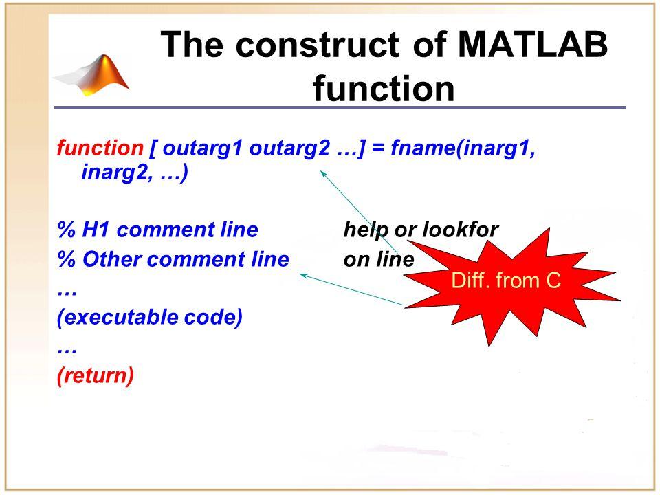 Example 利用函数的递归调用,求 n ! factor.m : function f=factor(n) if n<=1 f=1; else f=factor(n-1)*n; end
