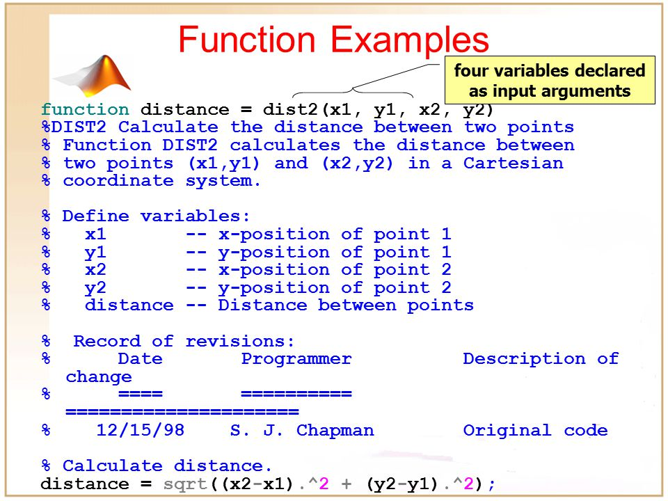Functions help dist2 DIST2 Calculate the distance between two points Function DIST2 calculates the distance between two points (x1,y1) and (x2,y2) in a Cartesian coordinate system.