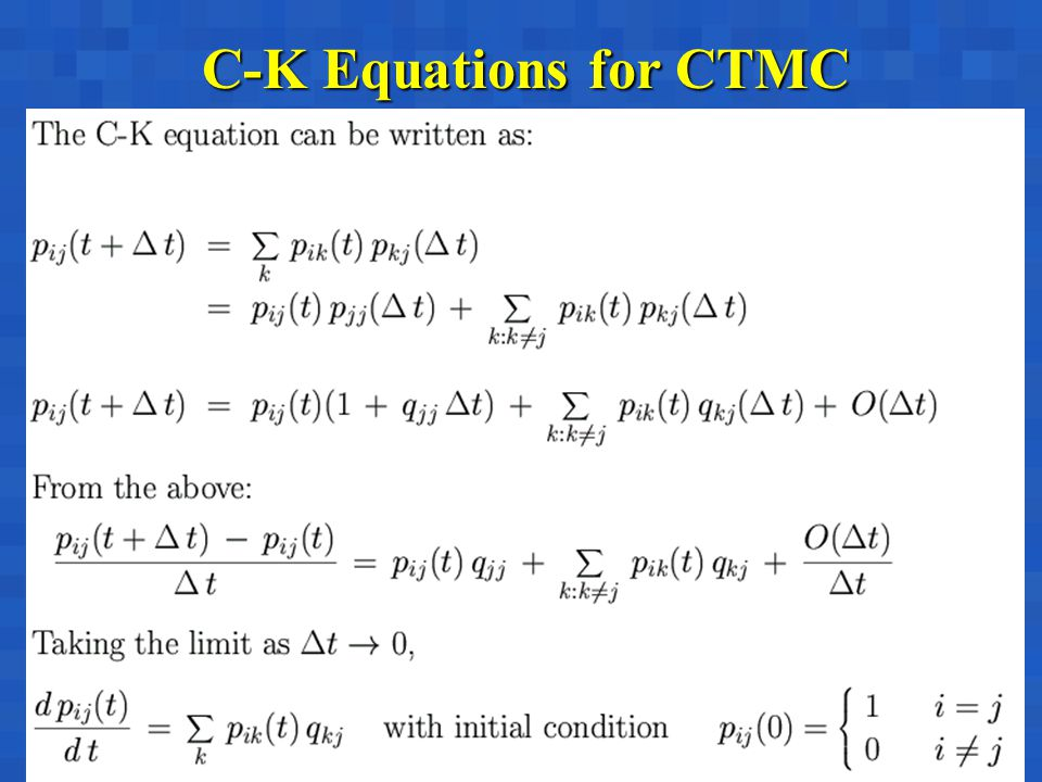 C-K Equations for CTMC
