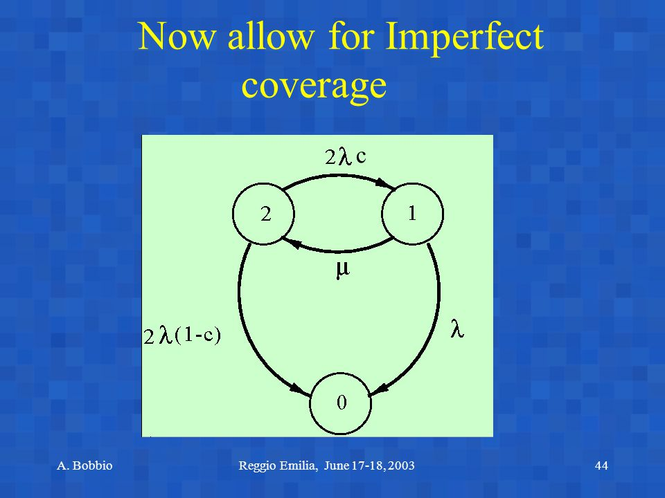 A. BobbioReggio Emilia, June 17-18, 200344 Now allow for Imperfect coverage c