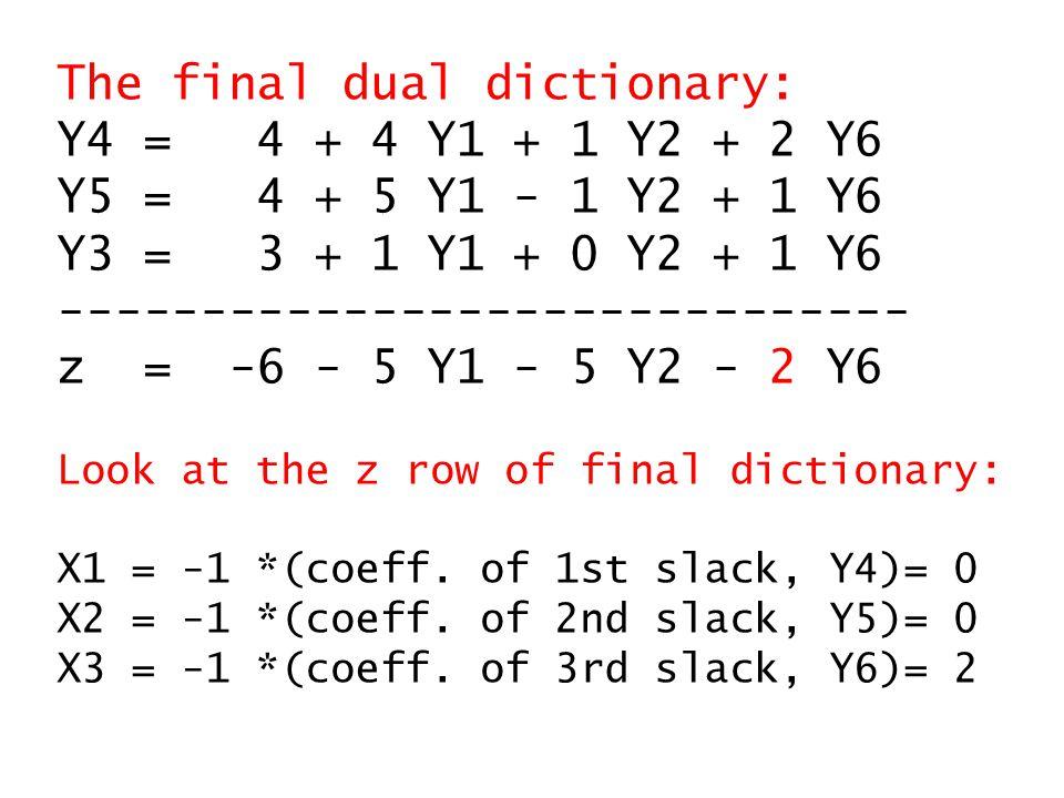 The final dual dictionary: Y4 = 4 + 4 Y1 + 1 Y2 + 2 Y6 Y5 = 4 + 5 Y1 - 1 Y2 + 1 Y6 Y3 = 3 + 1 Y1 + 0 Y2 + 1 Y6 ------------------------------ z = -6 - 5 Y1 - 5 Y2 - 2 Y6 Look at the z row of final dictionary: X1 = -1 *(coeff.