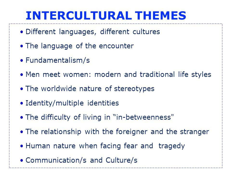 INTERCULTURAL THEMES Different languages, different cultures The language of the encounter Fundamentalism/s Men meet women: modern and traditional life styles The worldwide nature of stereotypes Identity/multiple identities The difficulty of living in in-betweenness The relationship with the foreigner and the stranger Human nature when facing fear and tragedy Communication/s and Culture/s