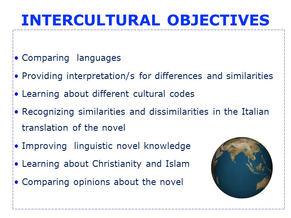 INTERCULTURAL OBJECTIVES Comparing languages Providing interpretation/s for differences and similarities Learning about different cultural codes Recognizing similarities and dissimilarities in the Italian translation of the novel Improving linguistic novel knowledge Learning about Christianity and Islam Comparing opinions about the novel