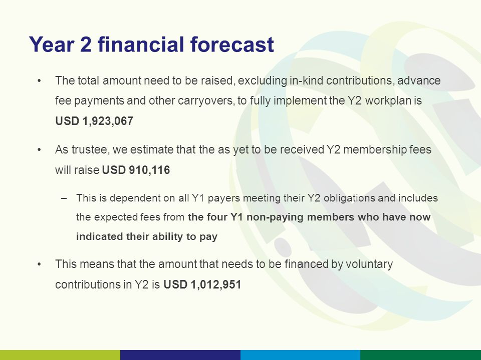 Year 2 financial forecast The total amount need to be raised, excluding in-kind contributions, advance fee payments and other carryovers, to fully implement the Y2 workplan is USD 1,923,067 As trustee, we estimate that the as yet to be received Y2 membership fees will raise USD 910,116 –This is dependent on all Y1 payers meeting their Y2 obligations and includes the expected fees from the four Y1 non-paying members who have now indicated their ability to pay This means that the amount that needs to be financed by voluntary contributions in Y2 is USD 1,012,951