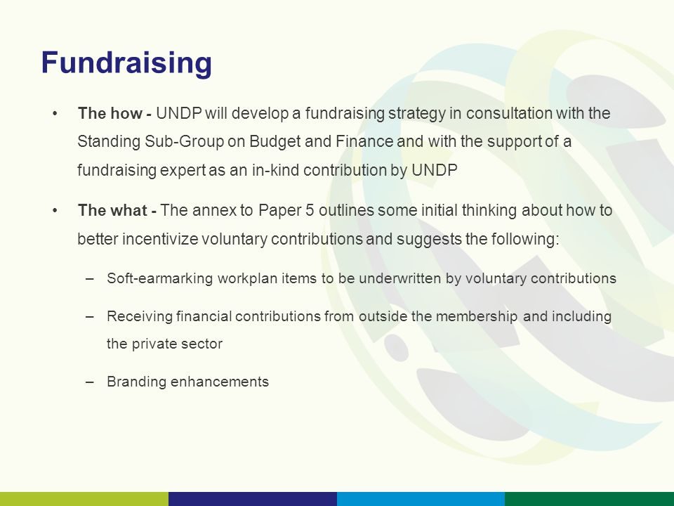 Fundraising The how - UNDP will develop a fundraising strategy in consultation with the Standing Sub-Group on Budget and Finance and with the support of a fundraising expert as an in-kind contribution by UNDP The what - The annex to Paper 5 outlines some initial thinking about how to better incentivize voluntary contributions and suggests the following: –Soft-earmarking workplan items to be underwritten by voluntary contributions –Receiving financial contributions from outside the membership and including the private sector –Branding enhancements