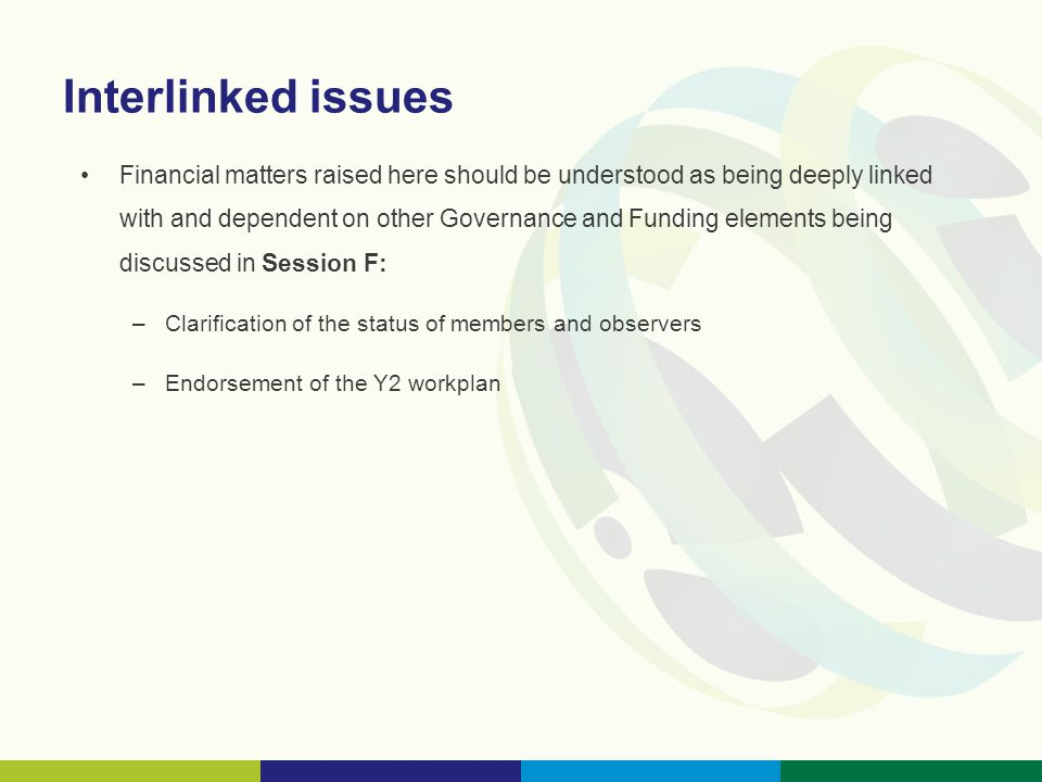 Interlinked issues Financial matters raised here should be understood as being deeply linked with and dependent on other Governance and Funding elements being discussed in Session F: –Clarification of the status of members and observers –Endorsement of the Y2 workplan