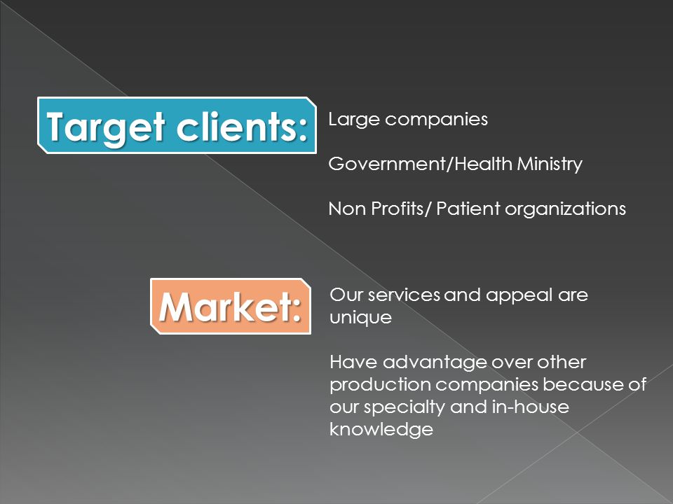 Large companies Government/Health Ministry Non Profits/ Patient organizations Our services and appeal are unique Have advantage over other production companies because of our specialty and in-house knowledge Target clients: Market: