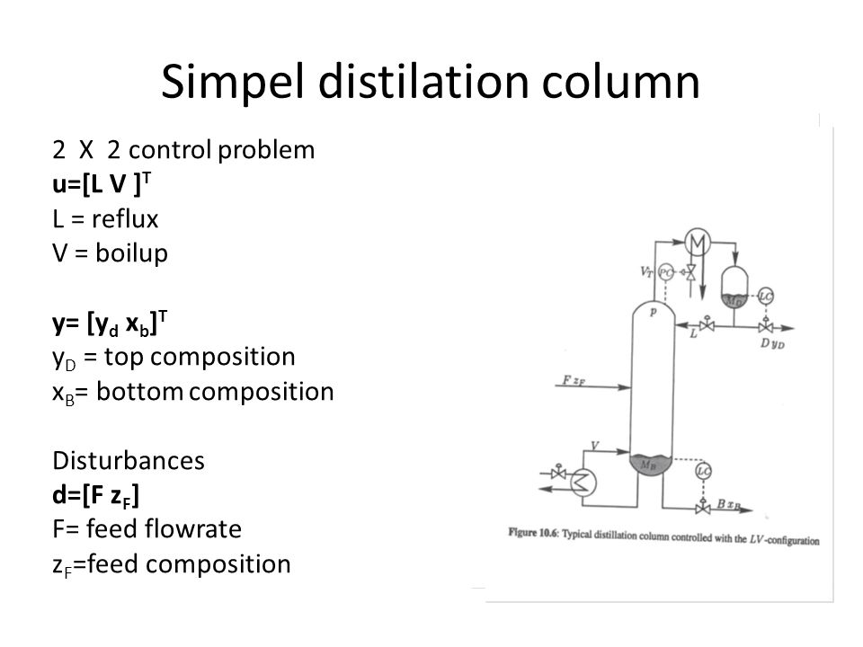 Simpel distilation column 2 X 2 control problem u=[L V ] T L = reflux V = boilup y= [y d x b ] T y D = top composition x B = bottom composition Disturbances d=[F z F ] F= feed flowrate z F =feed composition