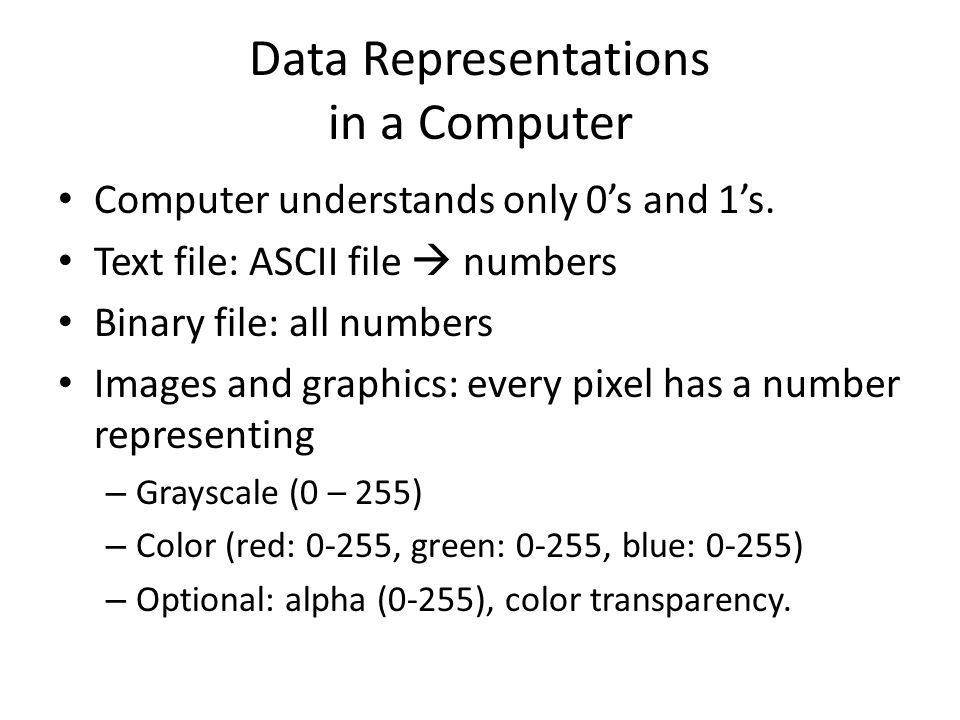 Data Representations in a Computer Computer understands only 0's and 1's. Text file: ASCII file  numbers Binary file: all numbers Images and graphics