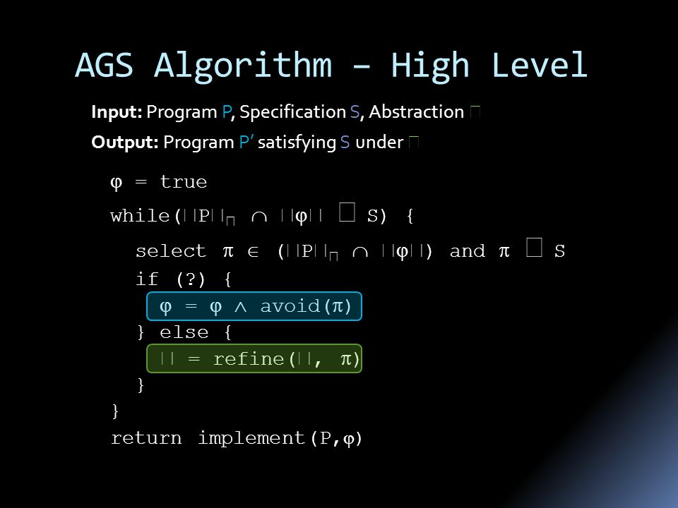 AGS Algorithm – High Level  = true while(  P        S) { select   (  P       ) and   S if (?) {  =   avoid(  ) } else {  = refine( ,  ) } return implement(P,  ) Input: Program P, Specification S, Abstraction  Output: Program P' satisfying S under 
