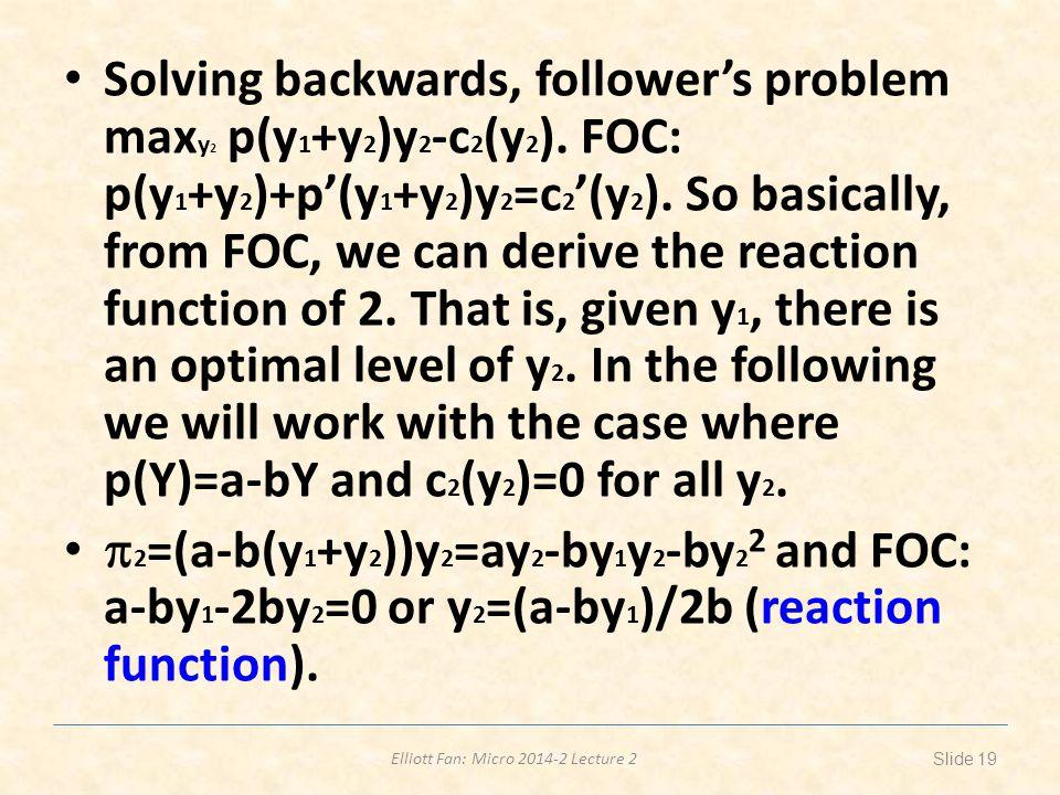 Elliott Fan: Micro 2014-2 Lecture 2 Solving backwards, follower's problem max y 2 p(y 1 +y 2 )y 2 -c 2 (y 2 ).