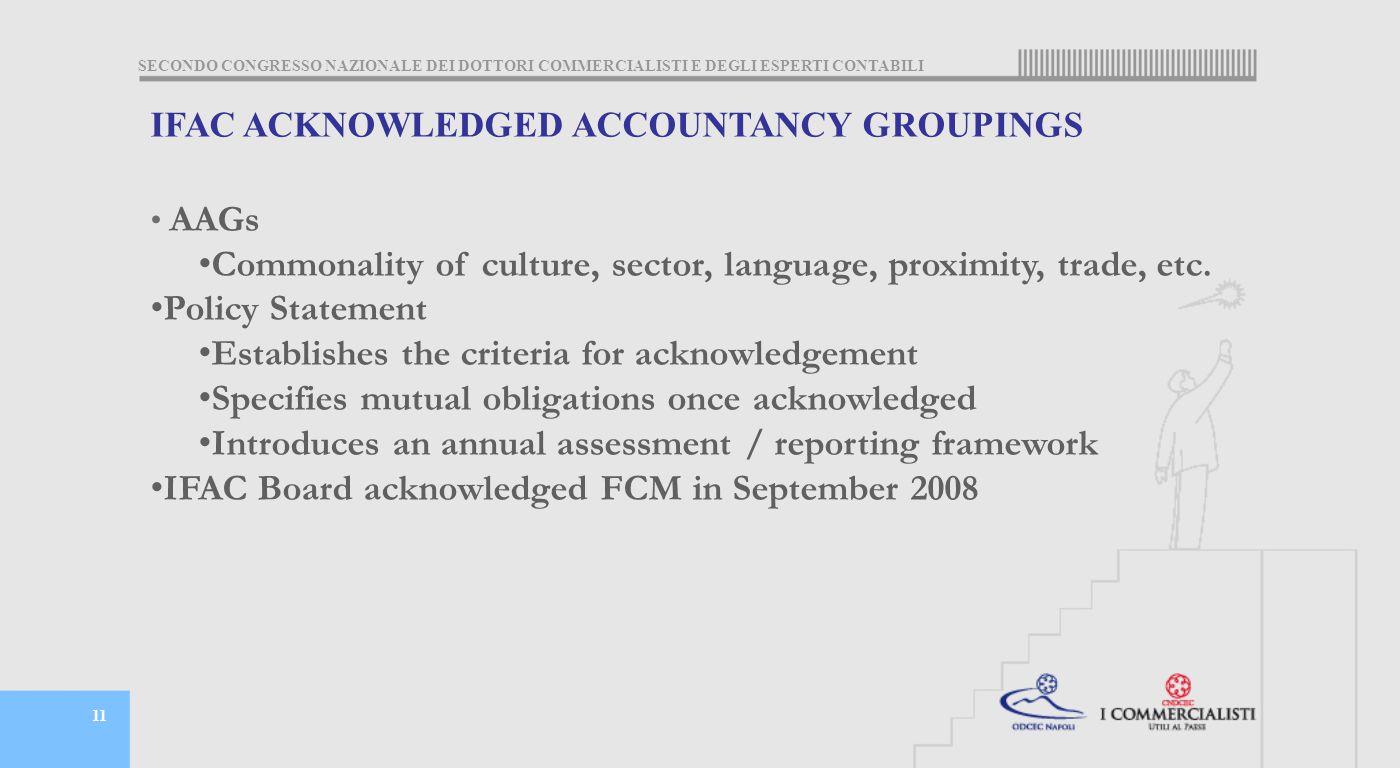 SECONDO CONGRESSO NAZIONALE DEI DOTTORI COMMERCIALISTI E DEGLI ESPERTI CONTABILI 11 IFAC ACKNOWLEDGED ACCOUNTANCY GROUPINGS AAGs Commonality of culture, sector, language, proximity, trade, etc.