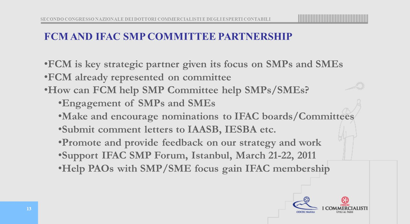 SECONDO CONGRESSO NAZIONALE DEI DOTTORI COMMERCIALISTI E DEGLI ESPERTI CONTABILI 13 FCM AND IFAC SMP COMMITTEE PARTNERSHIP FCM is key strategic partner given its focus on SMPs and SMEs FCM already represented on committee How can FCM help SMP Committee help SMPs/SMEs.
