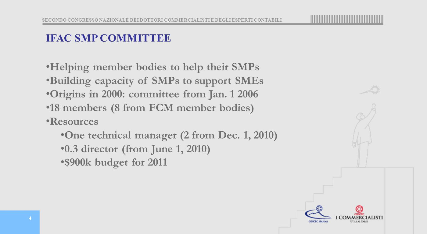 SECONDO CONGRESSO NAZIONALE DEI DOTTORI COMMERCIALISTI E DEGLI ESPERTI CONTABILI 4 IFAC SMP COMMITTEE Helping member bodies to help their SMPs Building capacity of SMPs to support SMEs Origins in 2000: committee from Jan.