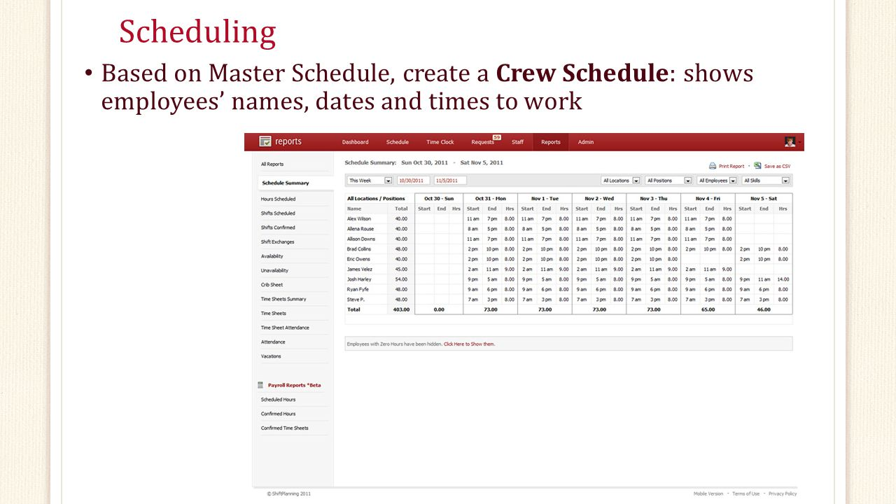 Scheduling Based on Master Schedule, create a Crew Schedule: shows employees' names, dates and times to work