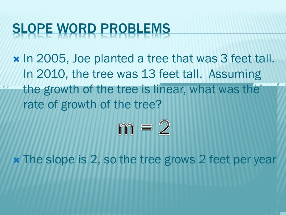  In 2005, Joe planted a tree that was 3 feet tall.