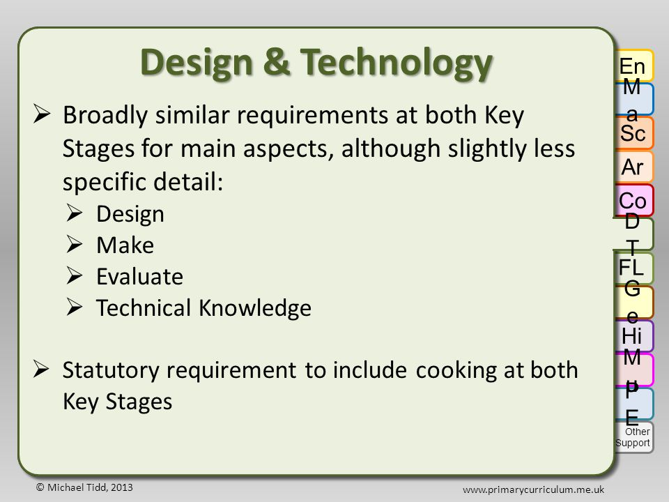 © Michael Tidd, 2013 www.primarycurriculum.me.uk Design & Technology  Broadly similar requirements at both Key Stages for main aspects, although slightly less specific detail:  Design  Make  Evaluate  Technical Knowledge  Statutory requirement to include cooking at both Key Stages Design & Technology  Broadly similar requirements at both Key Stages for main aspects, although slightly less specific detail:  Design  Make  Evaluate  Technical Knowledge  Statutory requirement to include cooking at both Key Stages En MaMa Sc Ar Co DTDT GeGe Hi FL MuMu PEPE Other Support