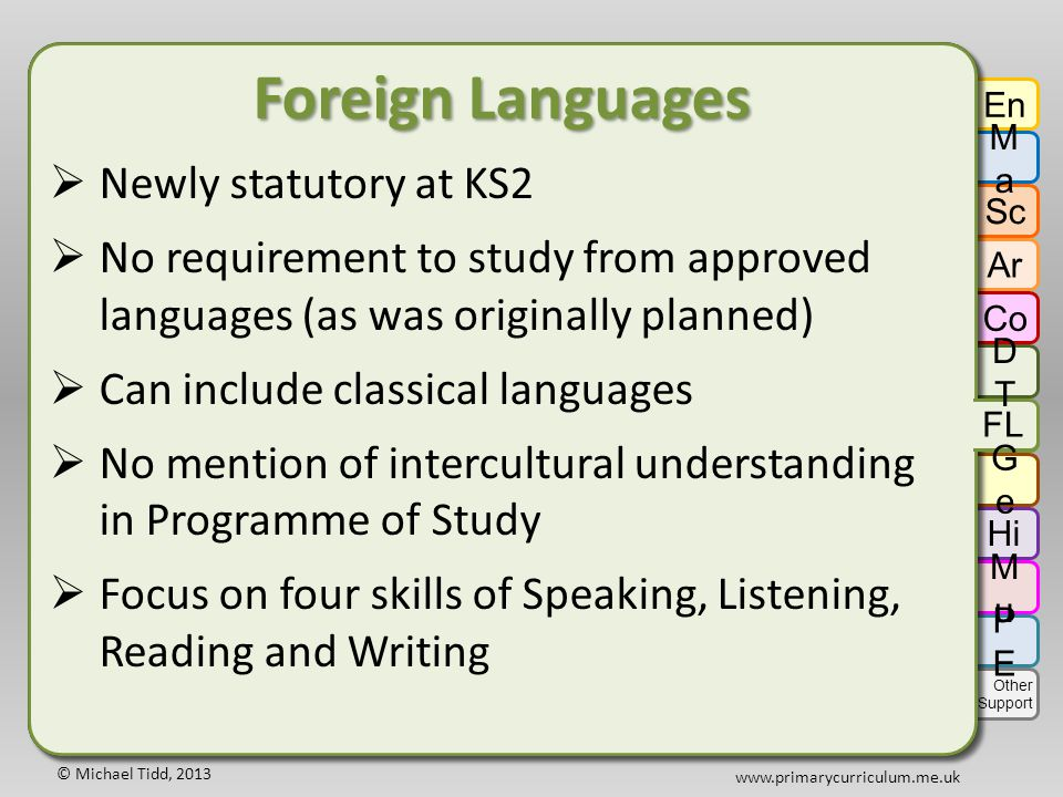 © Michael Tidd, 2013 www.primarycurriculum.me.uk Foreign Languages  Newly statutory at KS2  No requirement to study from approved languages (as was originally planned)  Can include classical languages  No mention of intercultural understanding in Programme of Study  Focus on four skills of Speaking, Listening, Reading and Writing Foreign Languages  Newly statutory at KS2  No requirement to study from approved languages (as was originally planned)  Can include classical languages  No mention of intercultural understanding in Programme of Study  Focus on four skills of Speaking, Listening, Reading and Writing En MaMa Sc Ar Co DTDT GeGe Hi FL MuMu PEPE Other Support