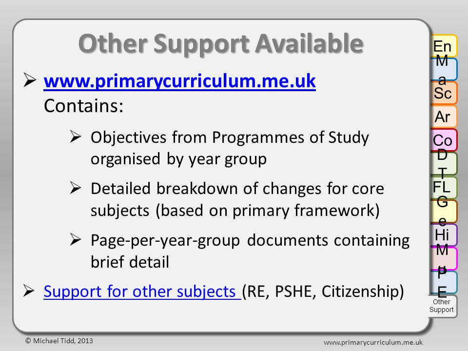 © Michael Tidd, 2013 www.primarycurriculum.me.uk Other Support Available  www.primarycurriculum.me.uk Contains: www.primarycurriculum.me.uk  Objectives from Programmes of Study organised by year group  Detailed breakdown of changes for core subjects (based on primary framework)  Page-per-year-group documents containing brief detail  Support for other subjects (RE, PSHE, Citizenship) Support for other subjects Other Support Available  www.primarycurriculum.me.uk Contains: www.primarycurriculum.me.uk  Objectives from Programmes of Study organised by year group  Detailed breakdown of changes for core subjects (based on primary framework)  Page-per-year-group documents containing brief detail  Support for other subjects (RE, PSHE, Citizenship) Support for other subjects En MaMa Sc Ar Co DTDT GeGe Hi FL MuMu PEPE Other Support