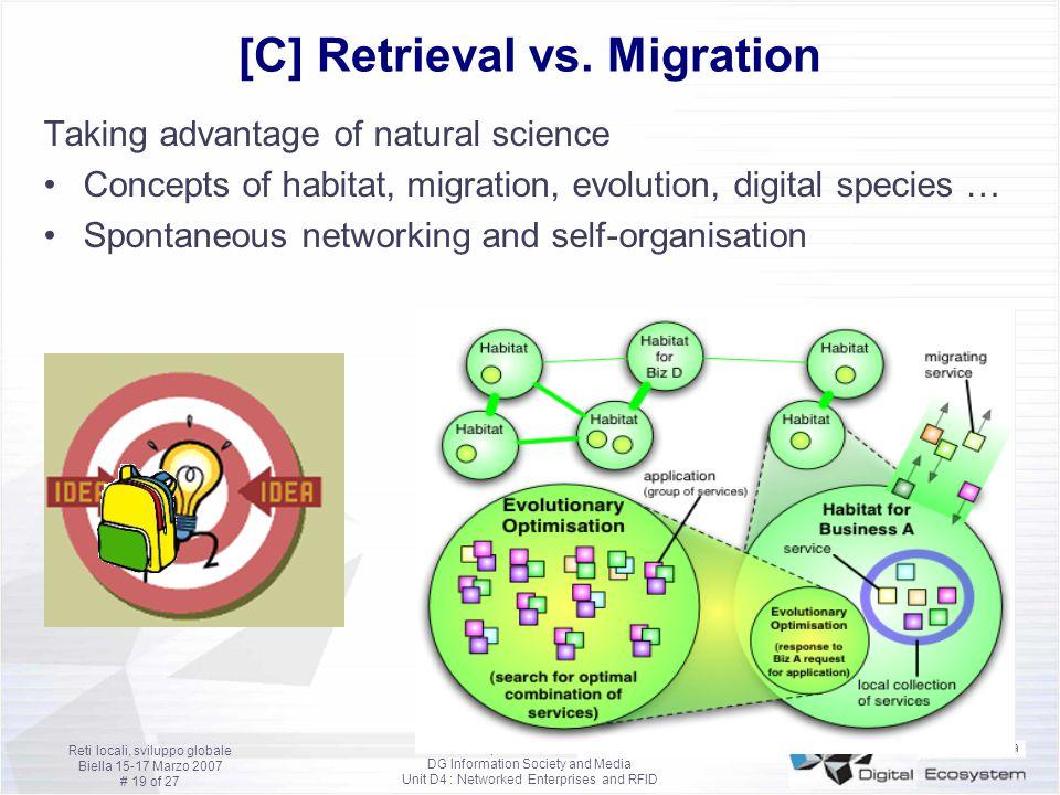 Francesco Nachira European Commission DG Information Society and Media Unit D4 : Networked Enterprises and RFID Reti locali, sviluppo globale Biella 15-17 Marzo 2007 # 19 of 27 [C] Retrieval vs.
