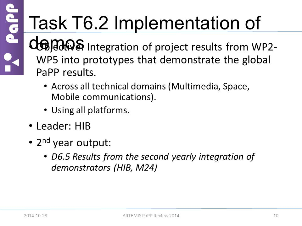 Task T6.2 Implementation of demos Objective: Integration of project results from WP2- WP5 into prototypes that demonstrate the global PaPP results. Ac
