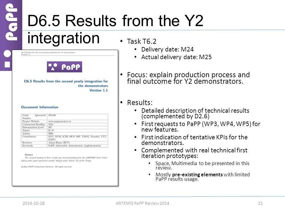D6.5 Results from the Y2 integration Task T6.2 Delivery date: M24 Actual delivery date: M25 Focus: explain production process and final outcome for Y2 demonstrators.