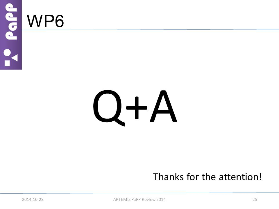 WP6 Q+A 25 Thanks for the attention! 2014-10-28ARTEMIS PaPP Review 2014