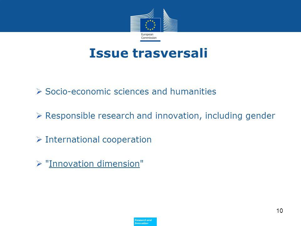Research and Innovation Research and Innovation Issue trasversali  Socio-economic sciences and humanities  Responsible research and innovation, including gender  International cooperation  Innovation dimension 10