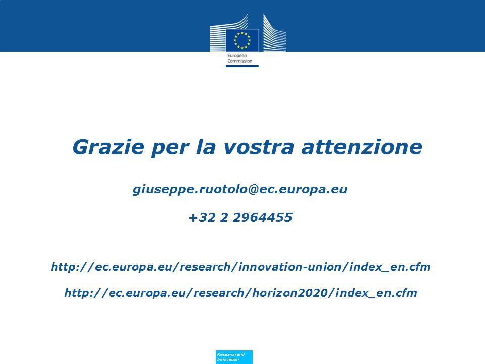 Research and Innovation Research and Innovation Grazie per la vostra attenzione giuseppe.ruotolo@ec.europa.eu +32 2 2964455 http://ec.europa.eu/research/innovation-union/index_en.cfm http://ec.europa.eu/research/horizon2020/index_en.cfm