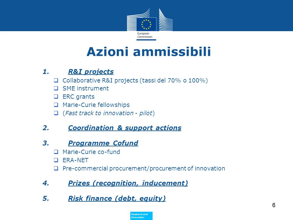 Research and Innovation Research and Innovation Azioni ammissibili 1.R&I projects  Collaborative R&I projects (tassi del 70% o 100%)  SME instrument  ERC grants  Marie-Curie fellowships  (Fast track to innovation - pilot) 2.Coordination & support actions 3.Programme Cofund  Marie-Curie co-fund  ERA-NET  Pre-commercial procurement/procurement of innovation 4.Prizes (recognition, inducement) 5.Risk finance (debt, equity) 6
