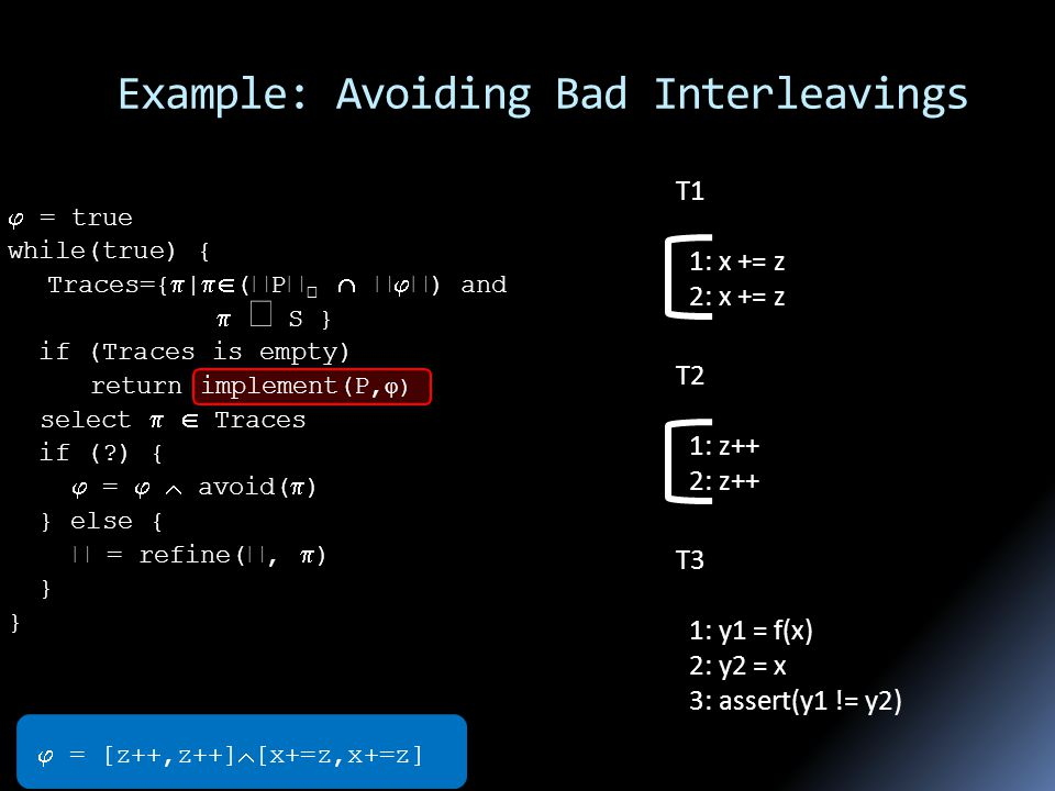 Example: Avoiding Bad Interleavings T1 1: x += z 2: x += z T2 1: z++ 2: z++ T3 1: y1 = f(x) 2: y2 = x 3: assert(y1 != y2)  = [z++,z++]  [x+=z,x+=z]  = true while(true) { Traces={  |  (  P       ) and   S } if (Traces is empty) return implement(P,  ) select   Traces if ( ) {  =   avoid(  ) } else {  = refine( ,  ) }