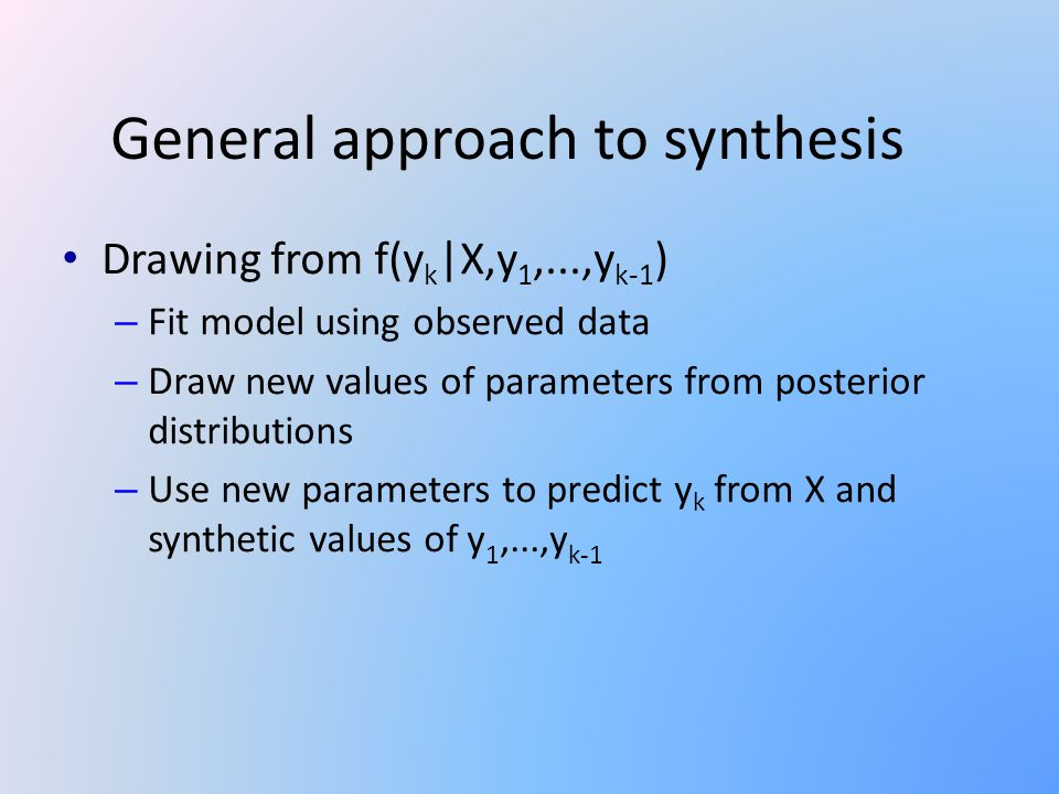 General approach to synthesis Drawing from f(y k |X,y 1,...,y k-1 ) – Fit model using observed data – Draw new values of parameters from posterior distributions – Use new parameters to predict y k from X and synthetic values of y 1,...,y k-1