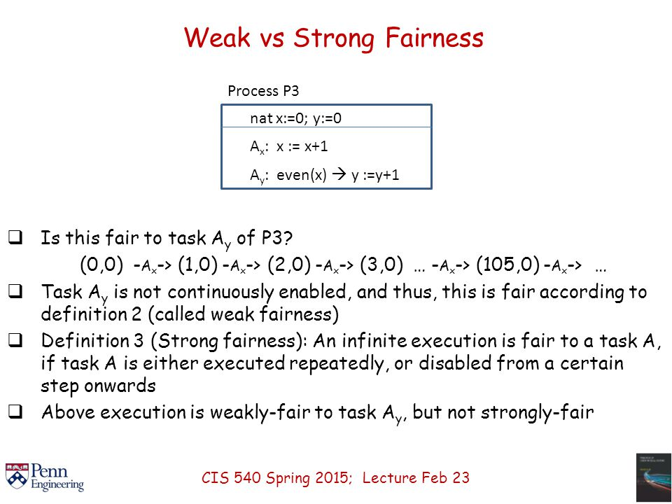 Weak vs Strong Fairness  Is this fair to task A y of P3.